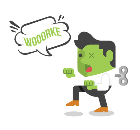 Zombie businessman. Vector flat illustration