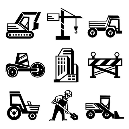 Vector Construction Icons Set Isolated on White Background Vector