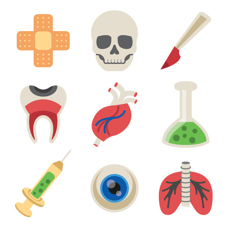 infected: Vector Medicine Flat Icons Set Isolated on White Background Illustration