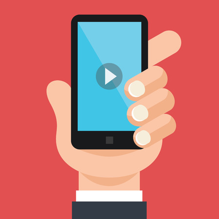 video player: Hand holds smartphone with video player Illustration