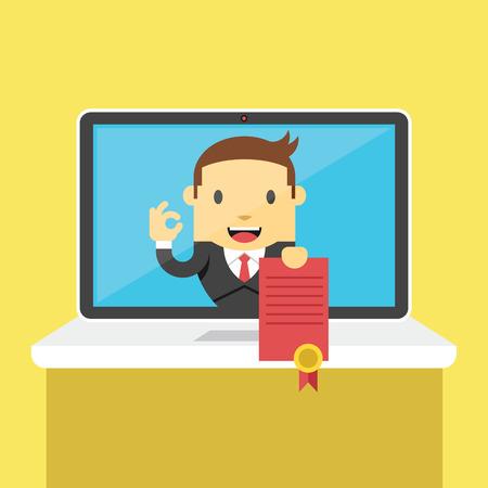 Vector online onderwijs certificaat flat illustratie