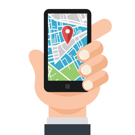 Vector Hand and Smartphone with Map Navigation App