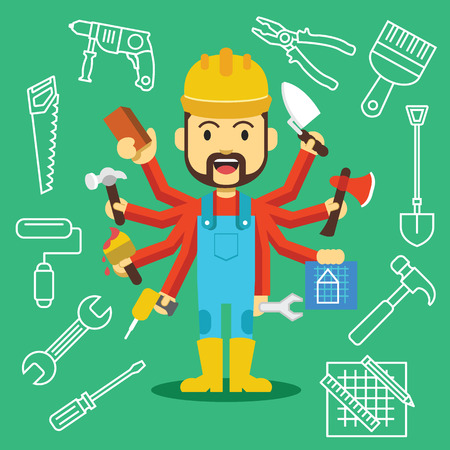 Vector handsome builder with lot of hands