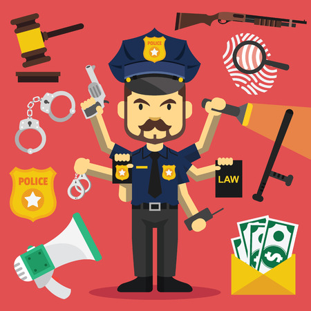 police radio: Vector tough policeman with lot of hands