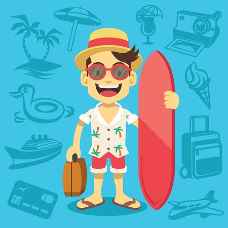 cartoon surfing: Happy handsome tourist mascot.