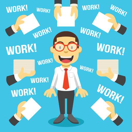 Workaholic. Creative vector flat illustration Illustration
