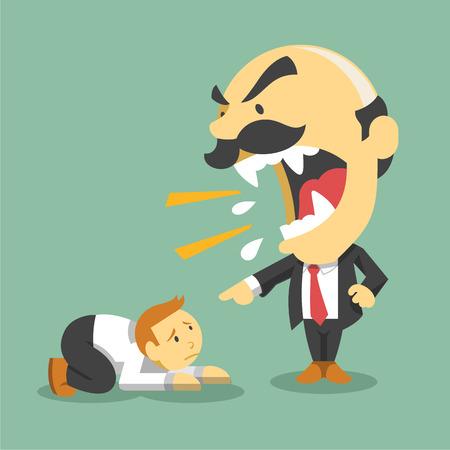 scold: Boss screams on worker. Vector flat illustration Illustration