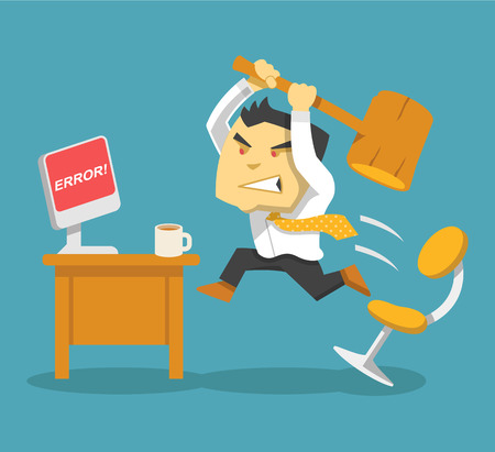 hard: Hard work. Vector flat illustration