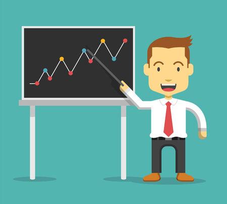 show business: Businessman show business growing graph. Vector flat illustration