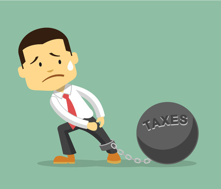shackles: Businessman and tax burden. Vector flat illustration