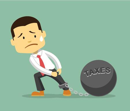impuestos: Empresario y de carga tributaria. Vector ilustración plana Vectores