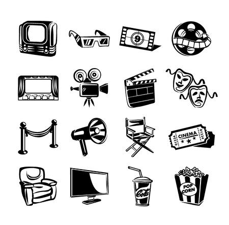 cine: Cinema vector icon set Illustration