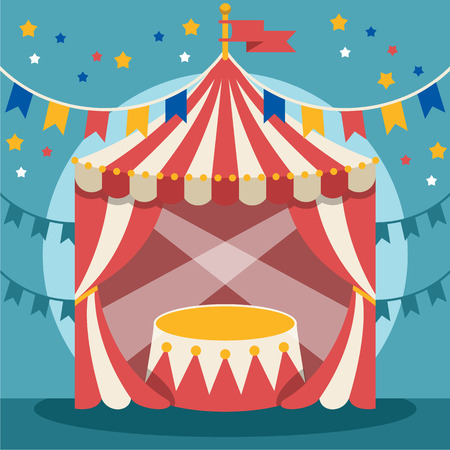 marquee tent: Vector flat circus illustration