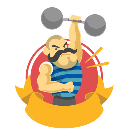 gym workout: Circus athlete. Vector flat illustration