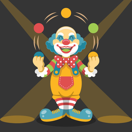 hocus pocus: Circus clown. Vector flat illustration