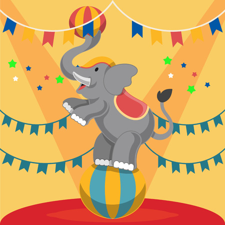 manege: Circus elephant. Vector flat illustrationarena