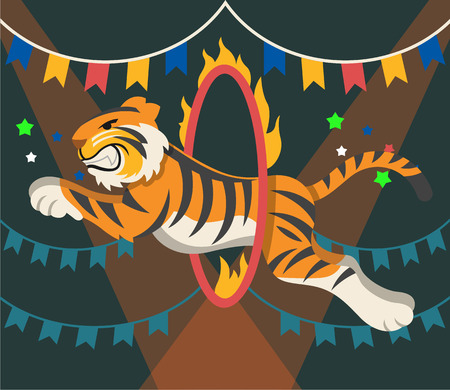 manege: Circus tiger. Vector flat illustrationarena
