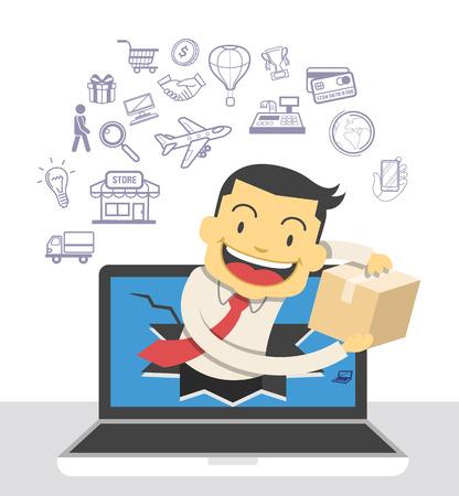 commerce electronique: Le commerce �lectronique. Vector illustration et des ic�nes