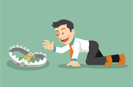 trap: Money trap. Vector flat illustration Illustration