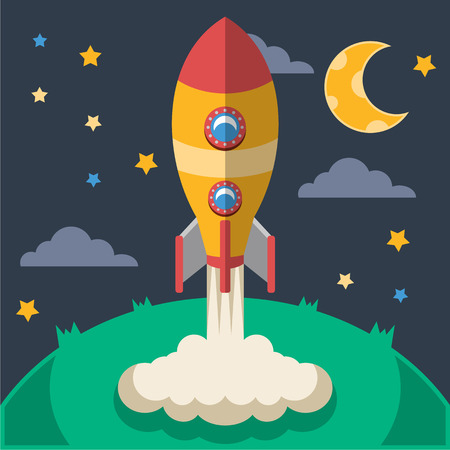 launching: Vector rocket flat illustration