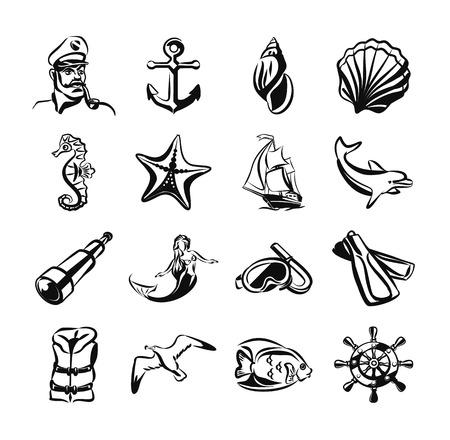 animals outline: Sea vector black icon set