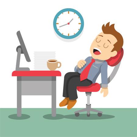 眠っているビジネスマン。ベクトル フラット イラスト