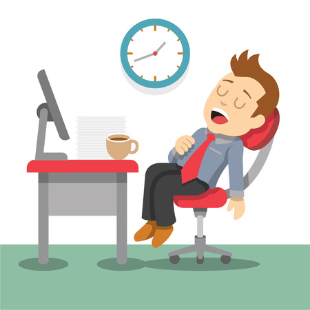 escritorio: Hombre de negocios durmiente. Vector ilustración plana Vectores