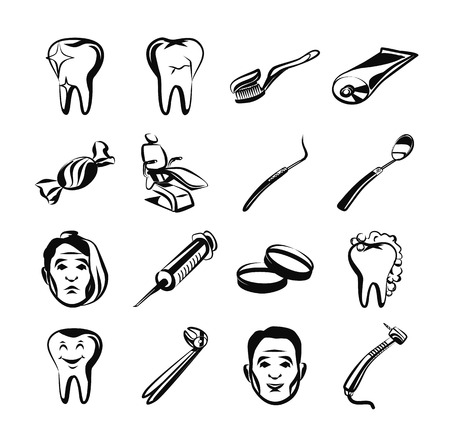 stomatology icon: Stomatology black icon set