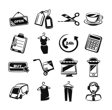 e commerce icon: E commerce black icon set