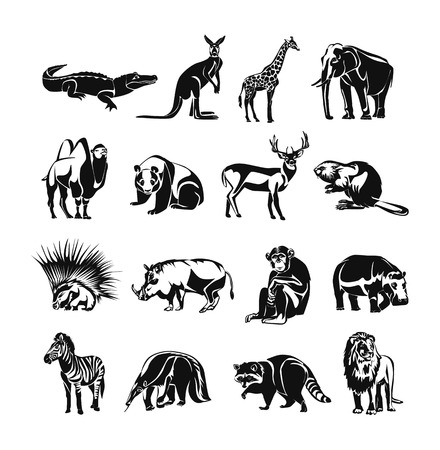 cloven: Animals vector black doodle outline icon set Illustration