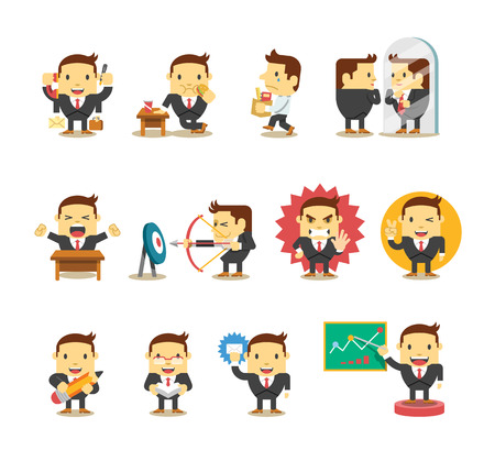 Set of businessman. Vector flat illustration Vector