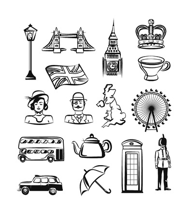 Great Britain vector outline pictogram black icon set