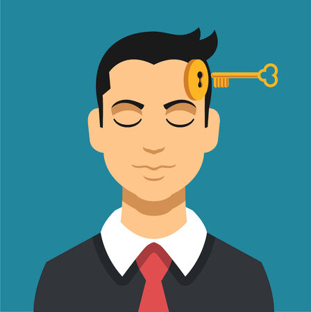 mental work: Head with key. Vector flat illustration Illustration