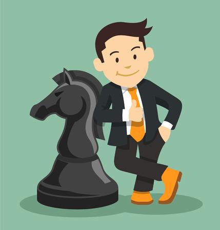 strategic position: Successful businessman. Vector flat illustration
