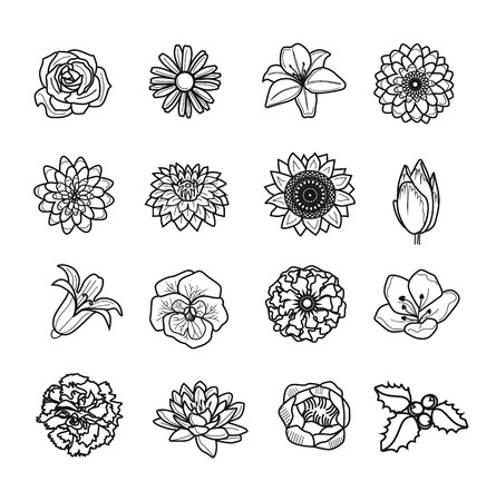 Vector flower black icon set Vector