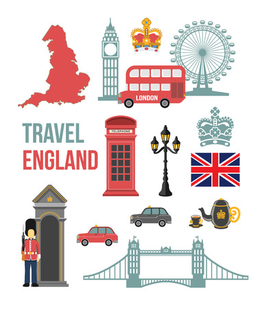 london eye: Great Britain vector flat icon set