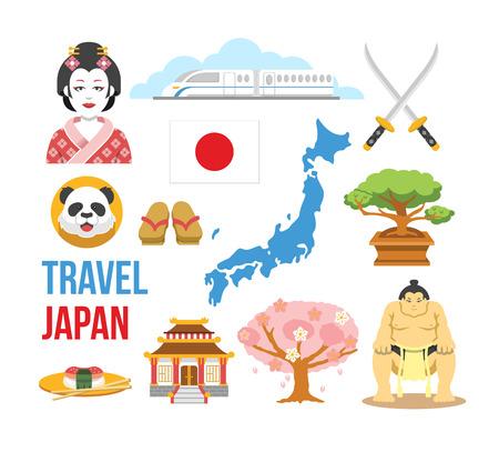 Japan flat icons set Vector