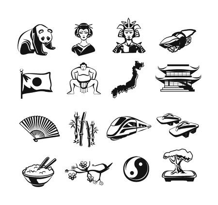 Japan vector outline doodle pictogram black icons set Vector