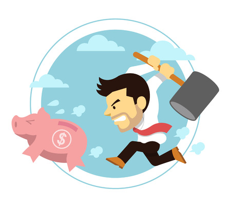 flee: Business crisis. Vector flat illustration