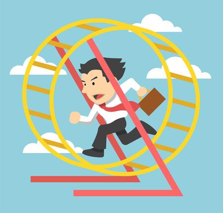 runs: Businessman runs. Vector flat illustration Illustration