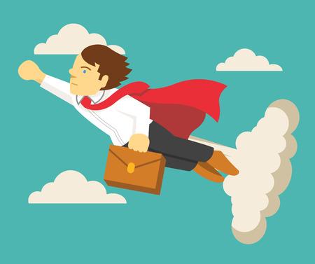 jefe: Hombre de negocios de Super. Vector ilustración plana Vectores