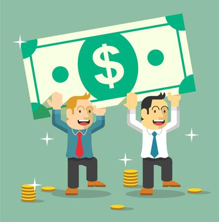 People carry money. Flat vector illustration Illustration