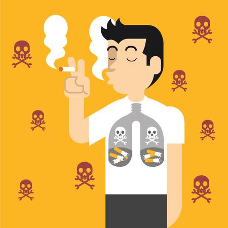 fumando: Vector ilustración plana contra el tabaquismo Vectores