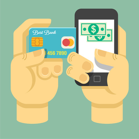 checkout line: Vector flat online payment illustration Illustration