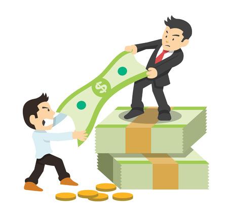 wage: Fighting for money. Vector flat illustration Illustration