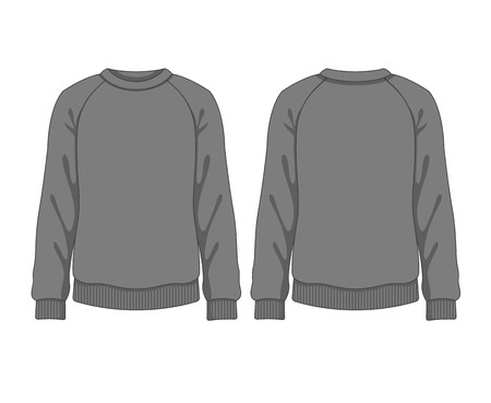 long sleeves: Man sweatshirt. Vector template