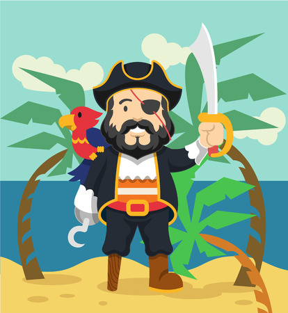 one eyed: Pirate vector flat illustration