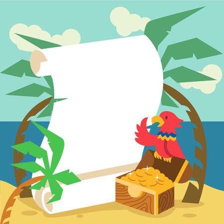 treasure hunt: Pirate gold. Vector flat illustration