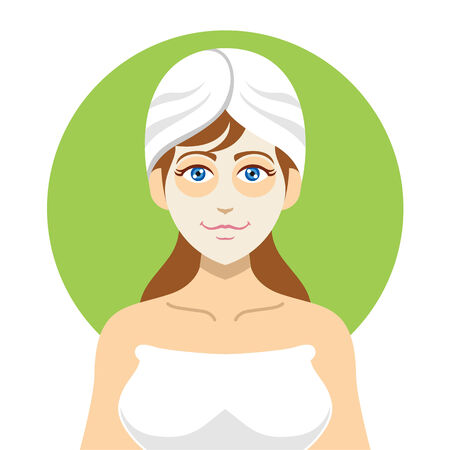 Girl spa. Vector flat illustration Ilustração
