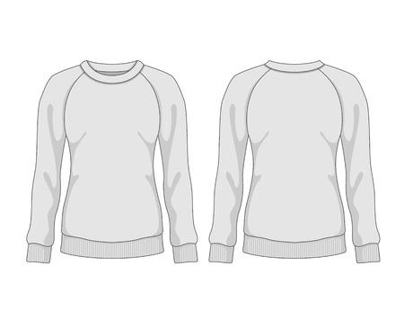 Woman sweatshirt. Vector template